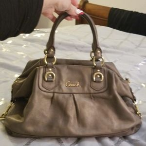 Coach leather bronze and gold authentic bag